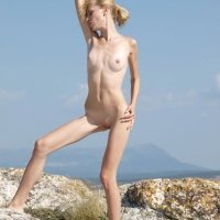 Super thin blonde girl Eva nude on the beach