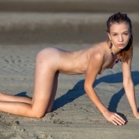Cute slim little girl completely naked on the beach