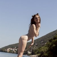 Adorable slim girl showing her nude body outside SO SWEET!