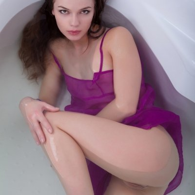 Provocative slim young girl Nedda in the bathroom